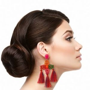 Gold Metal and Multi Color Bead Earrings